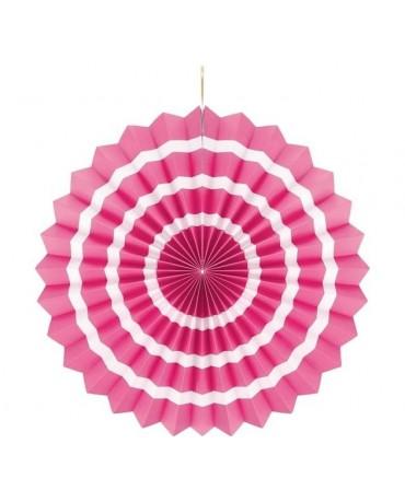 Dekor. rozeta -ružová s biel. pás.  40cm 1ks