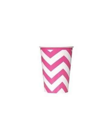 Poháre - ružové-biel.vlnky 355 ml 6ks