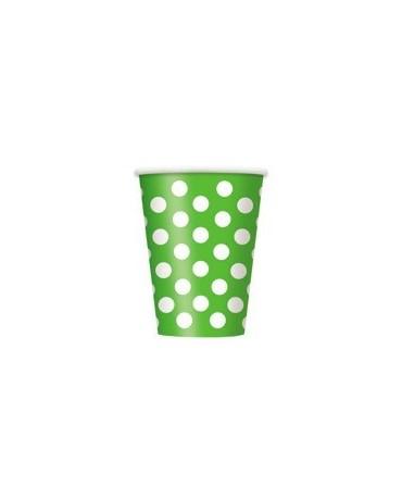 Poháre - zelené- biel. bodky 355 ml 6ks
