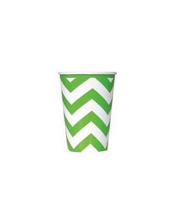 Poháre - zelené-biel.vlnky 355 ml 6ks
