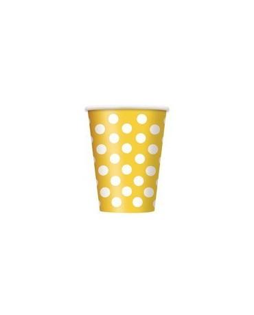 Poháre - žlté -biel.bodky 355 ml 6ks