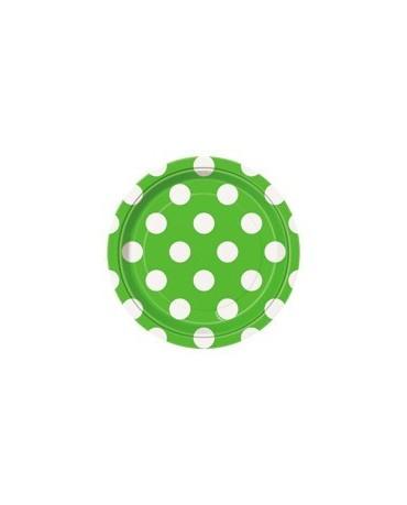 Tanieriky - zelené -biel.bodky 18 cm 8ks