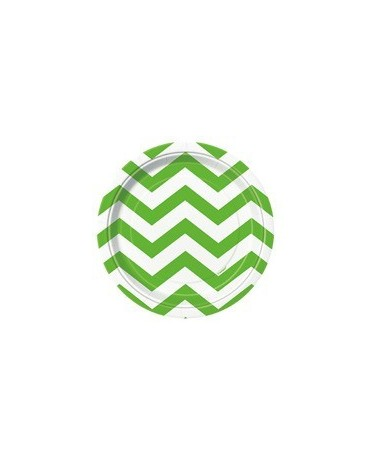 Tanieriky - zelené-biel.vlnky 18 cm 8ks