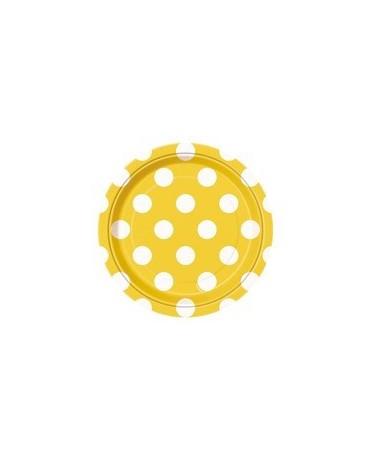 Tanieriky - žlté-biel.bodky 18 cm 8ks