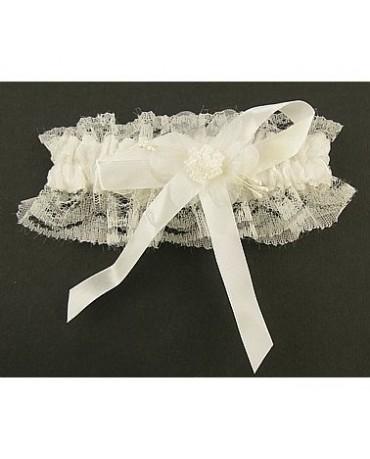 Podväzok pre nevestu - biely s perlou 1ks