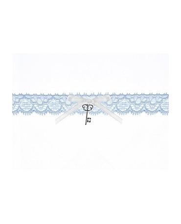 Podväzok pre nevestu -čipkovaný -modrý s kľúčom 1ks