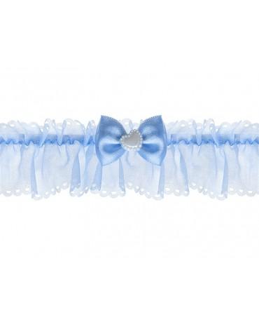 Podväzok pre nevestu -modrý s mašličkou a srdiečkom 1ks