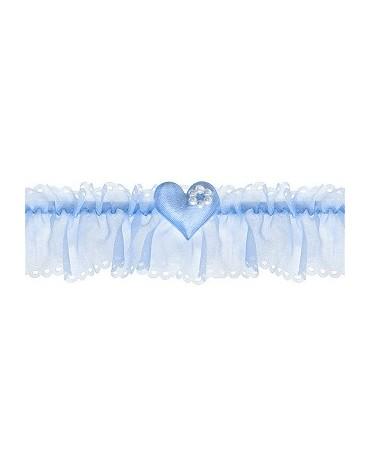 Podväzok pre nevestu -modrý so srdiečkom 1ks