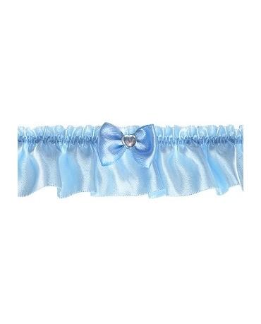 Podväzok pre nevestu -saténový modrý s mašľou 1ks