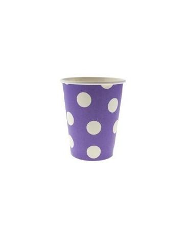 Poháre - fialové -biel.bodky 270 ml - 6ks