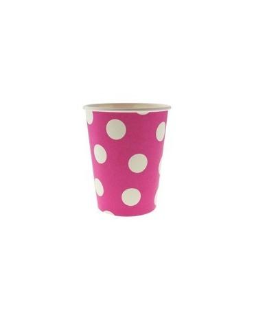 Poháre - ružové -biel.bodky 270 ml - 6ks