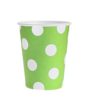 Poháre - zelené-biel.bodky 270 ml - 6ks