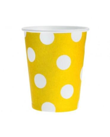Poháre - žlté-biele bodky 270 ml - 6ks