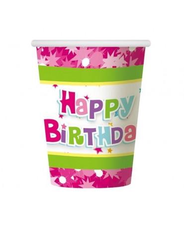 Poháre Hap. Birthday -ružové 270 ml 6ks