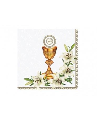 Servítky 1.sv.prij. - kalich s kvetmi - biele 20ks