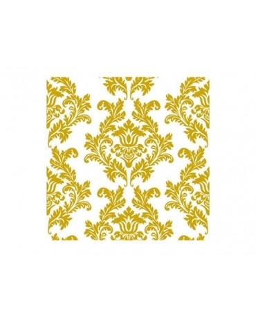 Servítky biele-zlatý vzor 33cm 20ks