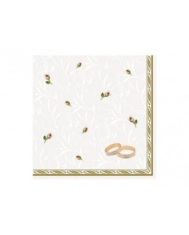Servítky biele-  obrúčky 33cm 20ks
