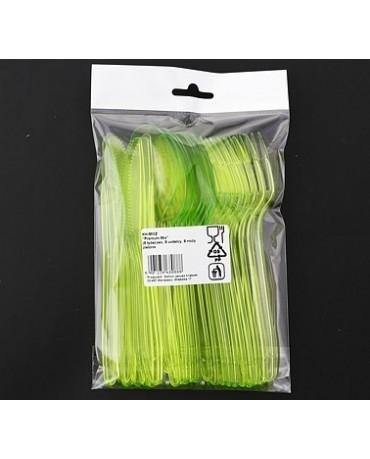Set príborov - zelený 24ks