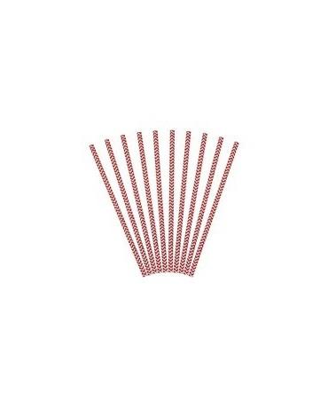 Slamky - červené vlnky 10ks