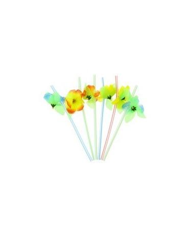 Slamky -s kvetinami 21cm 6ks