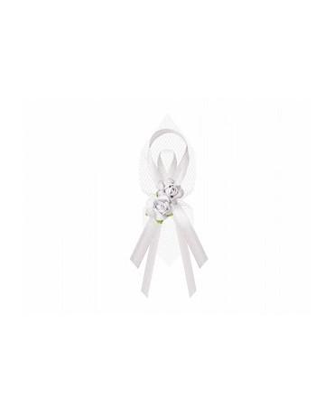 Stužky pre svad. hostí - biele s kvetmi 6ks