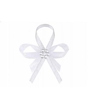 Stužky pre svad. hostí - biele s perlovým kvetom 25ks