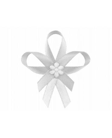 Stužky pre svad. hostí - biele so saténovým kvetom 25ks