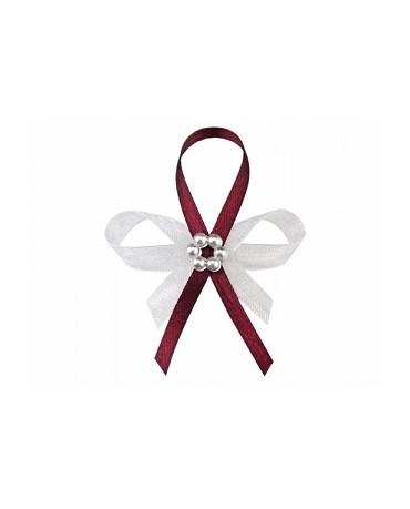 Stužky pre svad. hostí - bordové s perlovým kvetom 25ks