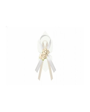 Stužky pre svad. hostí - krémové s kvetmi 6ks