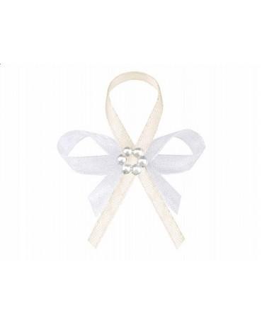 Stužky pre svad. hostí - krémové s perlovým kvetom 25ks