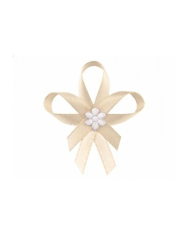 Stužky pre svad. hostí - krémové so saténovým kvetom 25ks