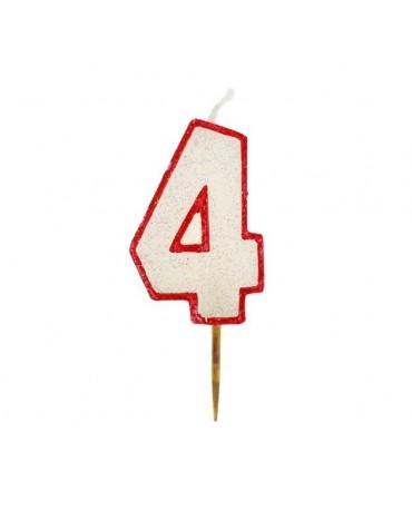 Sviečka - č. 4 - trbliet. s červ. okrajom 6cm 1ks