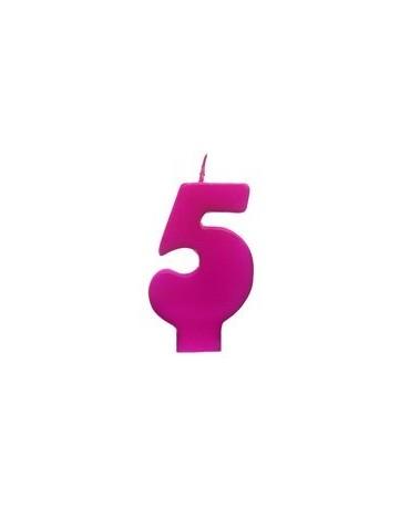 Sviečka - č.5 - ružová 6,5cm