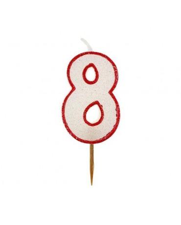 Sviečka - č. 8 - trbliet. s červ. okrajom 6cm 1ks