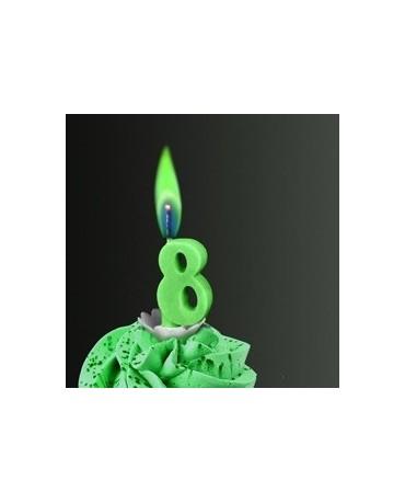 Sviečka - č.8 -zelený plameň