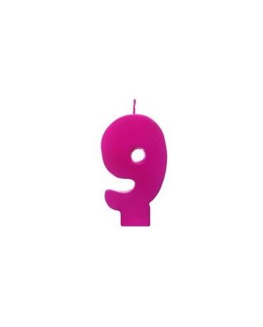 Sviečka - č.9 - ružová 6,5cm