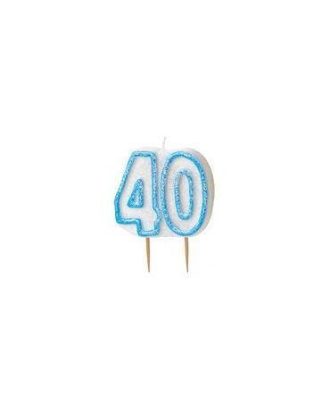 Sviečka č.40 -modrý okraj