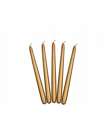 Sviečky - metal. zlaté 24cm 10ks