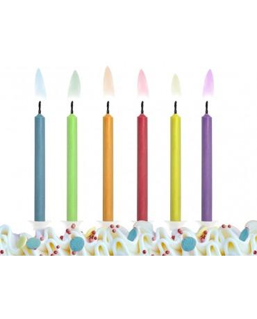 Sviečky - rôznofareb. plam. 6ks