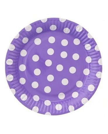Tanieriky - fialové-biel.bodky  23cm - 6ks
