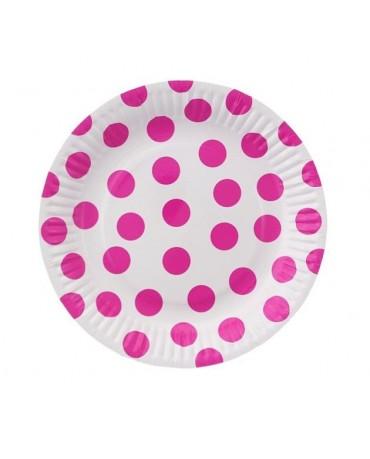 Taniere biele- ružové bodky 18cm 6ks