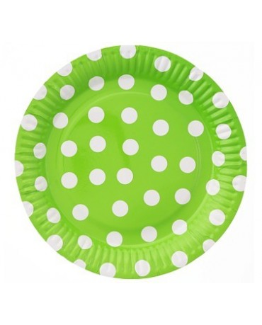 Taniere zelené -biel. bodky 23cm 6ks