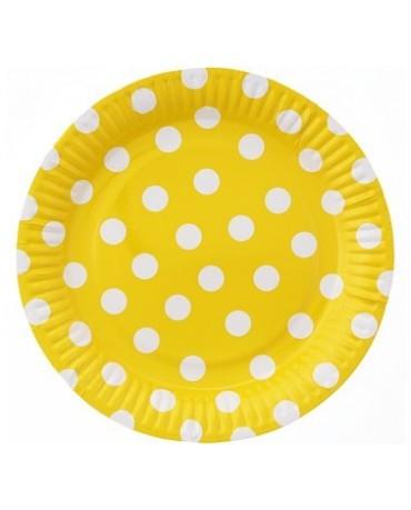 Taniere žlté -biel. bodky 23 cm 6ks