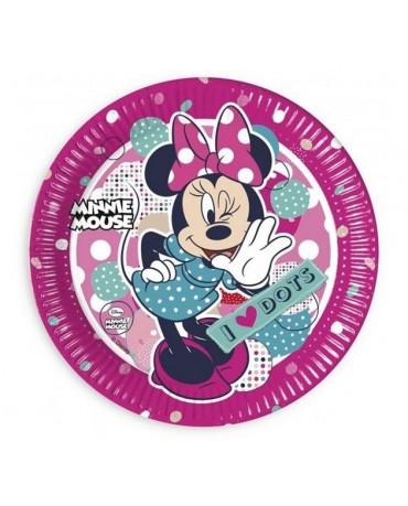 Tanieriky Minnie Mouse - bodky 23 cm - 8 ks