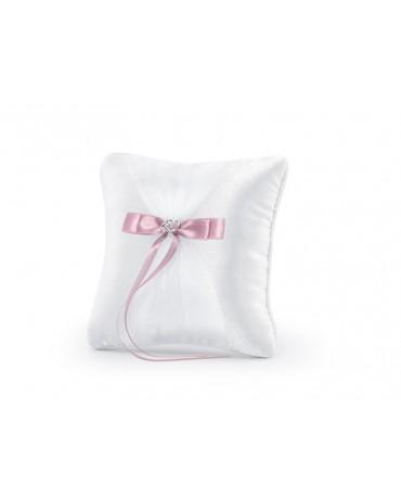 Vankúšik - biely s ružovou mašľou 1ks