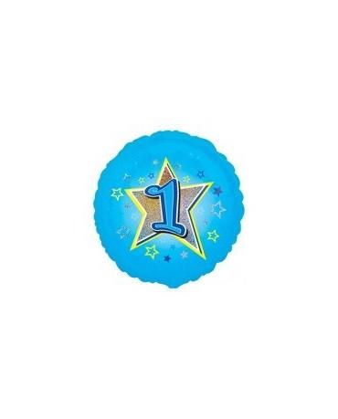 Fól. balón č. 1 - modrý s hviezdou 47cm