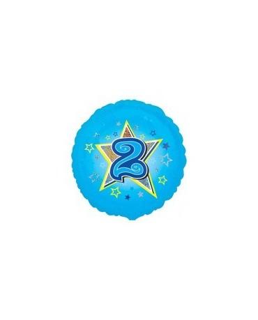 Fól. balón č. 2 - modrý s hviezdou 47cm