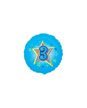Fól. balón č. 3 - modrý s hviezdou 47cm
