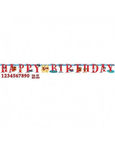 Banner Happy Birthday a čísla - piráti 3,2m