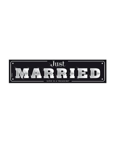 """Svad. dosky s nápisom """"Just  Married""""- čierne  10ks"""